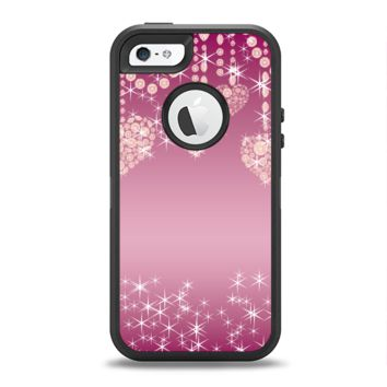 The Pink Sparkly Chandelier Hearts Apple iPhone 5-5s Otterbox Defender Case Skin Set
