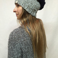 Knit Slouchy Hat Beanie Gray Tweed And Navy Color Block Warm And Cozy