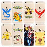 Pocket Monsters Phone Cases for iPhone 7 7plus 6 6S Plus 5 5s SE Case Pokemons Go Team Valor Mystic Instinct Silicone Coque Fone