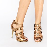 New Look Metallic Strappy Heeled Sandals