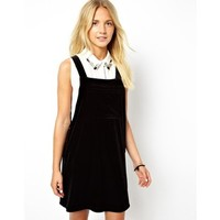 ASOS Pinafore Dress In Velvet With Zip Sides