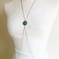 Turquoise Body Chain, Silver Body Chain, Simple Body Chain, Body Jewelry