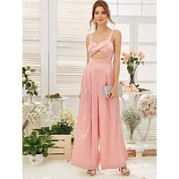 SHEIN Cross Wrap Cutout Front Pleated Wide Leg Satin Jumpsuit