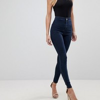 ASOS DESIGN Rivington high waist denim jeggings in flat indigo blue at asos.com
