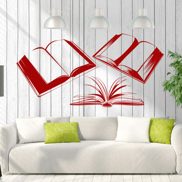Vinyl Decal Wall Sticker Books Reading Room Library Bookstore Decor Unique Gift (z4651)