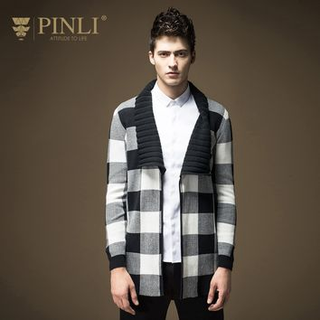 2017 Limited Single No Full Pullover Men Pinli Pinly New Spring Men's Fashion Cardigan Sweater Knitted Plaid Male B16331721