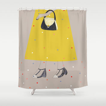 Walking My T-Strap Mary Janes Shower Curtain