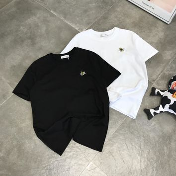 """""""Dior"""" Unisex Casual All-match Simple Little Bee Embroidery Short Sleeve Couple T-shirt Tops Tee"""
