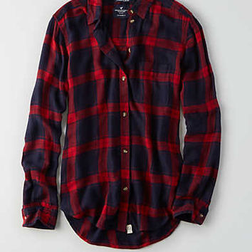 AEO Ahhhmazingly Soft Boyfriend Shirt , Navy
