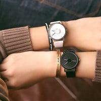 Fashion Simple Waterproof Unisex Watch Korean Harajuku Style Couple Leather Belt Watch (With Spare Battery&Watch Box)