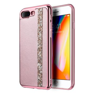 LUXMO Phone Case for iPhone 8 Plus Diamond Leather Case Capa with Electroplated Frame 3D Protective Back Cover Slim Phone Case
