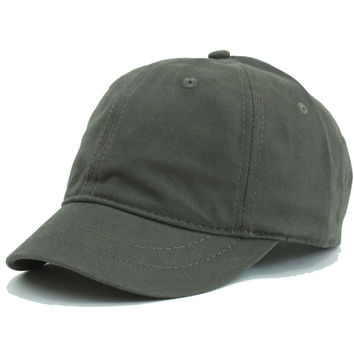 Olive Plain Washed Cotton Twill Baseball hat with Adjustable Velcro