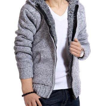 Trendy Jacket Men Thick Velvet Hooded Fur Jackets Mens Winter Padded Casual Knitted Sweater Cardigan Coats Outwear Sweatshirts Parkas AT_94_13