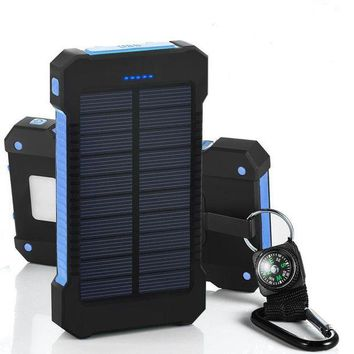 ONETOW Solar Power Bank 10000mah Dual USB Li-Polymer Solar Battery Charger Travel Powerbank With a compass