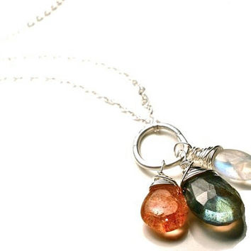 Moon, Sun, and Stars Gemstone Necklace in Sterling Silver- Rainbow Moonstone, Sunstone, and Labradorite