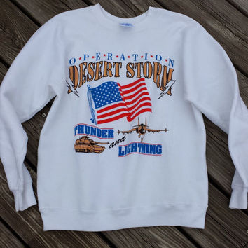 Vintage Rare Operation Desert Storm Sweatshirt- Thunder & Lightening - SZ S/M