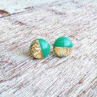 Real gold leaf earrings Emerald green gold studs Everyday earring Gold foil jewelry Post earrings Polymer clay studs Real gold 24K Gift idea