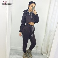 new autumn winter  women 2 piece clothing set 2016  women adjustable waist Hooded short  top and  pants loose 2 pieces sets