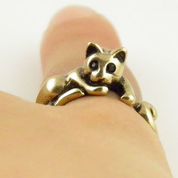 Animal Wrap Ring - Lazy Cat - Yellow Bronze - Adjustable Rig - keja Jewelry