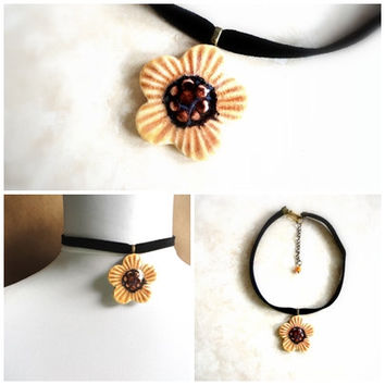 Sunflower Choker, Ceramic Necklace, Flower Pottery Pendant, Misted Yellow and Brown, Fall Fashion