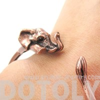 3D Baby Elephant Wrapped Around Your Wrist Shaped Bangle Bracelet in Copper