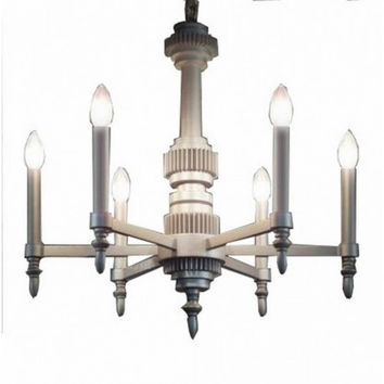 6 light concise modern euro bar counter restaurant countryside vintage industrial machinery aesthetics gear chandelier