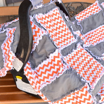 Custom Chevron Car Seat Cover and Rag Quilt Set, Baby Blanket Orange, Gray, Made To Order, Other Colors Available