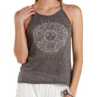 Heather Gray Sparkle Sun Graphic Tank Top by Charlotte Russe