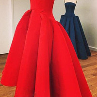 Ball Crown Shoulder Sleeveless Red Dress