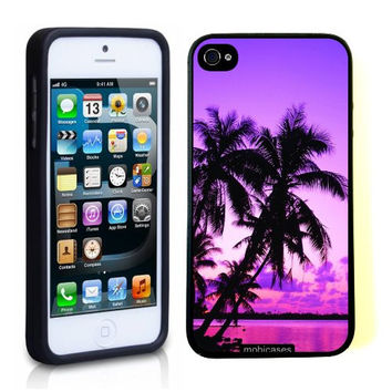 Tropical Palm Trees Sunset Purple iPhone 5 Case - For iPhone 5/5G Designer TPU Case Verizon AT&T Sprint