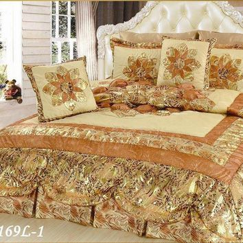Floral Golden Botanic Romantic Bordered Embellished Ruffles Bedspread Comforter Set (BM6169L-1)