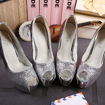 Open Toe Shinny Platform Sparkle Wedding Pumps Shoes