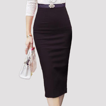2016  Hot Sale Ladies Skirt OL Women Slim Fitted Knee Length High Waist Straight Career Pencil Skirts Plus Size S-5XL 1565