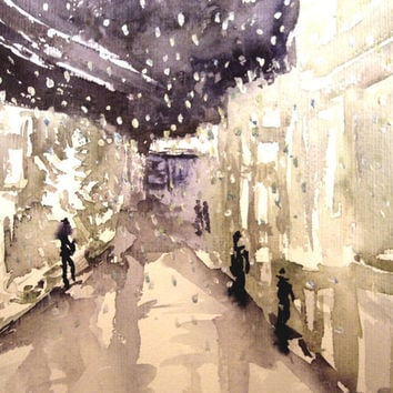 City snow on a winter night., 26 x 28 cm. Original watercolor painting