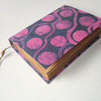 pink dots - batik fabric journal, antique diary, notebook, travel journal, blank book, blank journal, old pages