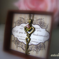 Personalized Bridesmaids Gifts Key Necklace with Personalized Initial - Romantic Vintage bridesmaid invitation