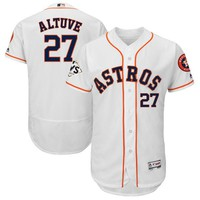 Men's Houston Astros Jose Altuve Majestic White 2017 World Series Bound Flex Base Player Jersey