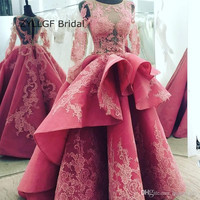 ZYLLGF Bridal See Through Ball Gown Long Sleeve Evening Dress Sexy Dubai Evening Gowns With Appliques Handmade SA278