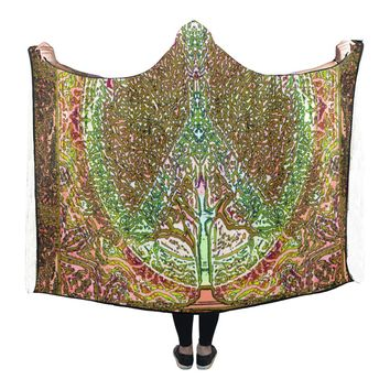 Hooded Blanket Peace Symbol Tree Of Life 80x53 Inch