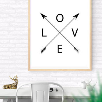 Love and Arrows Printable, Black and White Wall Art, Love Arrow Print, Arrow Love Print, Black Wall Decor, Love word art,  Home Wall Quote