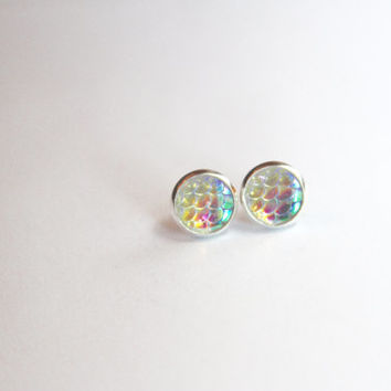 NEW - Mermaid Scale Clear Rainbow Iridescent Earrings - Posts/Studs 10mm MEDIUM