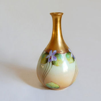 Pickard Violets Cabinet Vase Antique Botanical Vase Edwardian Art Nouveau Vases & Vessels Collectibles Home Decor Wedding Gift c1905-1910