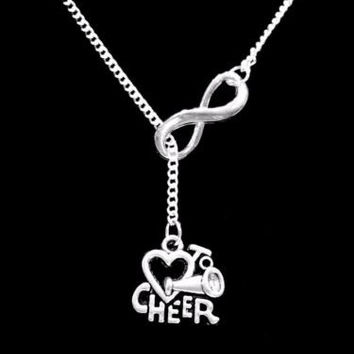 Infinity Love To Cheer Cheerleader Cheerleading Gift Lariat Style Necklace
