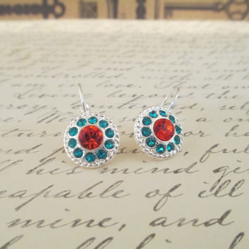 SWAROVSKI DAISY EARRING, hyacinth and blue zircon, dangles, designer inspired, decorated frame, designer inspired