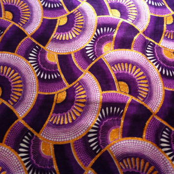 Dutch African Wax Print Fabric by the HALF YARD. Purple, lavender, gold glitter ink fans