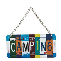 Camping - License Plate Christmas Ornament
