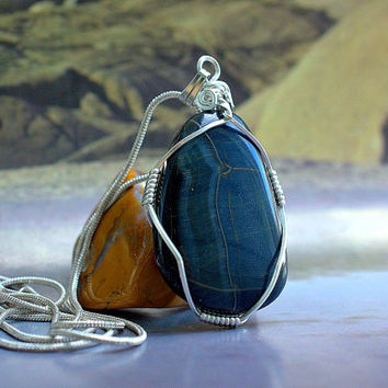 Hawk eye pendant blue Tiger eye silver wire wrapped free form shape with necklace