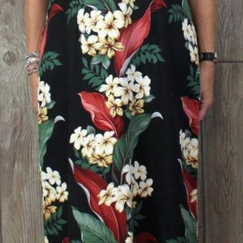 Cute Hilo Hattie Hawaiian Maxi Dress 20 XL1x size Black Multi Color Floral