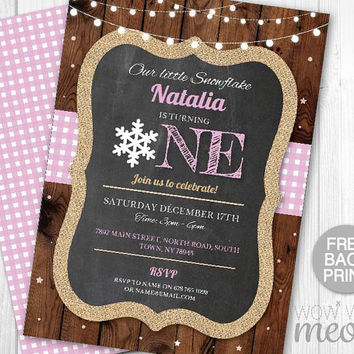 Snowflake Birthday Invite Turning One 1st Boy's Girl's Twins INSTANT DOWNLOAD Our Little First Invitation Snowflake Pink Printable Editable