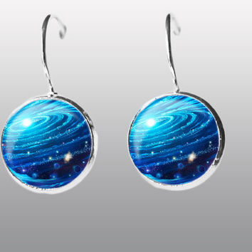 Blue Galaxy Earrings. Nebula Space Earrings. Universe Earrings. Galaxy dangle Earrings. Space Post Earrings Gift for Women and Girls.